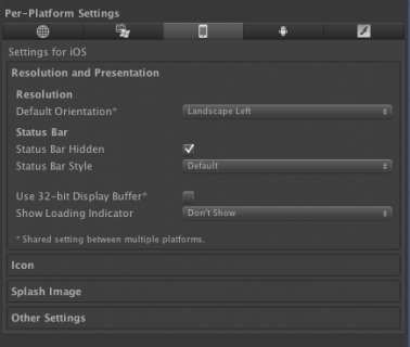 iOS Resolution and Presentation settings.