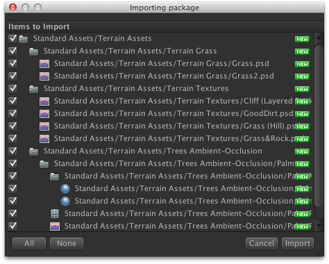 Importing package assets for the terrain.