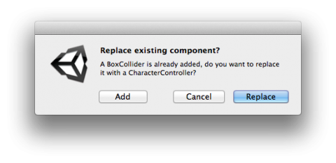 Adding CharacterController component warning.