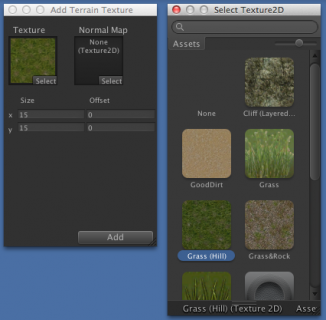 Terrain paint texture selection.