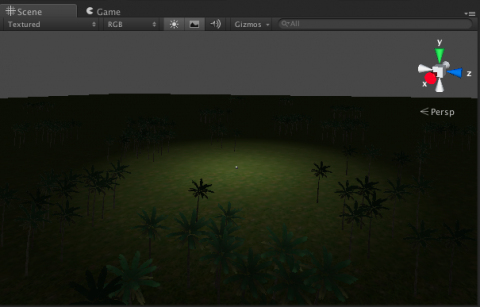 Scene View after trees added.