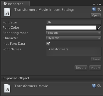 Font import settings.