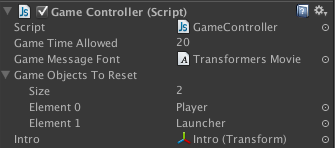 Intro transform assigned to Game Controller script.