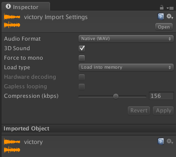 Victory audio import settings.