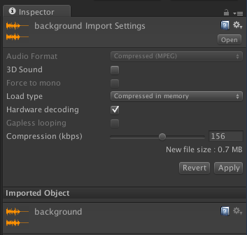 Background audio import settings.