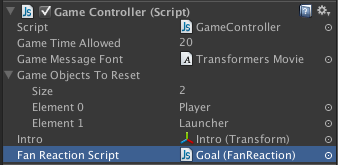 Fan Reaction script assigned to Game Controller script.