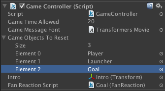 Goal added to Game Objects To Reset array.