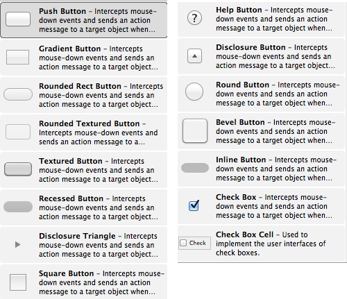 Variants of NSButton in Mac OS X