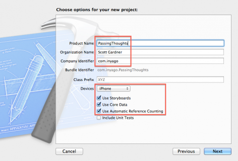Enter options for your new project