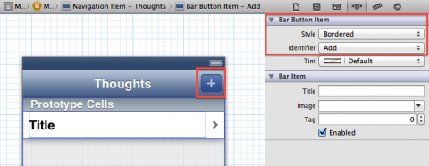 Add plus bar button to Master View Controller scene