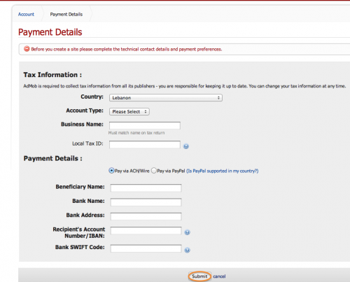 Entering payment details in AdMob