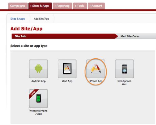 Choosing app type in AdMob