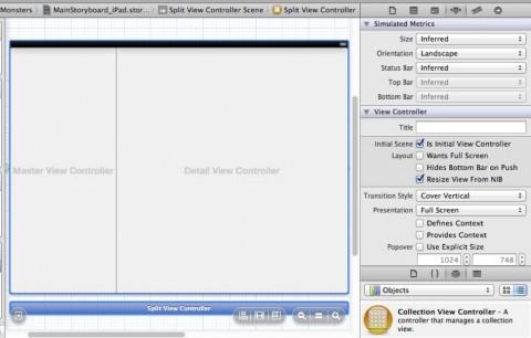 Simulated UISplitViewController in Storyboard