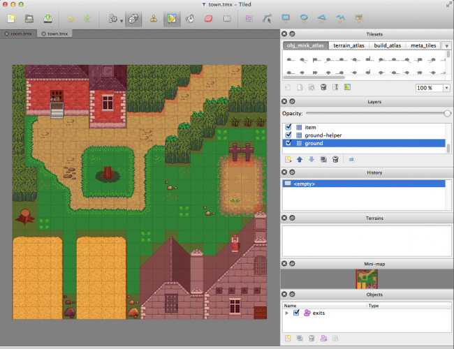 Town RPG Map made with Tiled Map Editor
