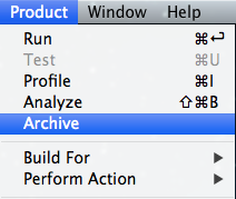 Archive action in Xcode
