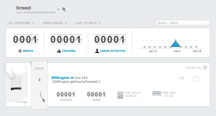 The Dashboard on Crashlytics