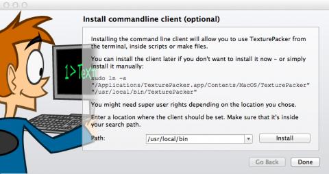 TexturePacker Command Line Install dialog