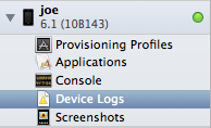 A device as listed in the organizer of Xcode