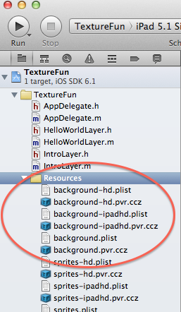 Resources folder after adding background sprite sheet files from TexturePacker