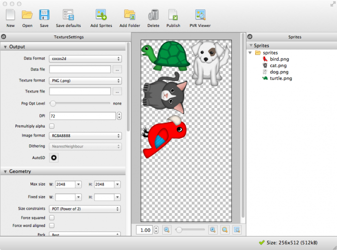 Importing Sprites into Texture Packer