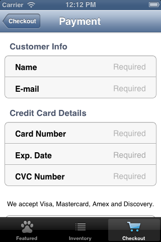Credit card info view controller