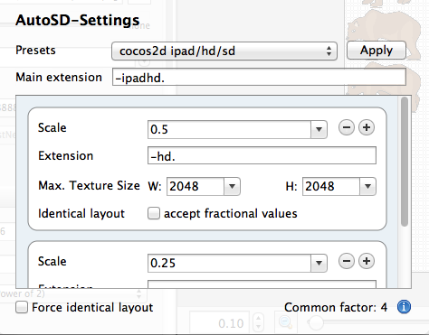 Using AutoSD option in Texture Packer