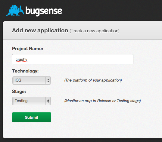Creating an Application on Bugsense
