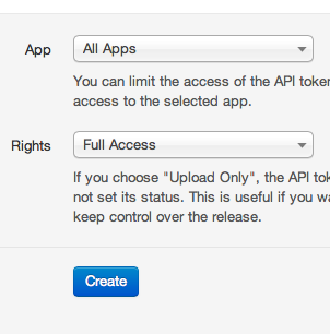 API token settings on HockeyApp