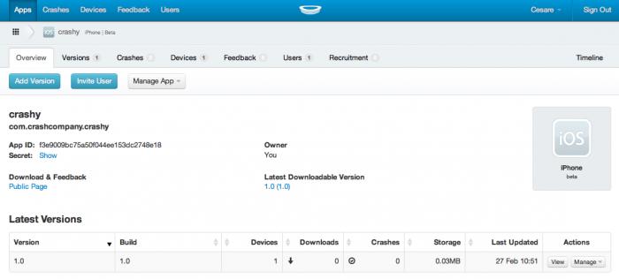 The new build on HockeApp