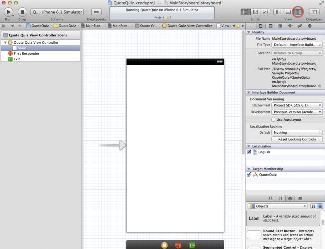 Open Xcode side panel