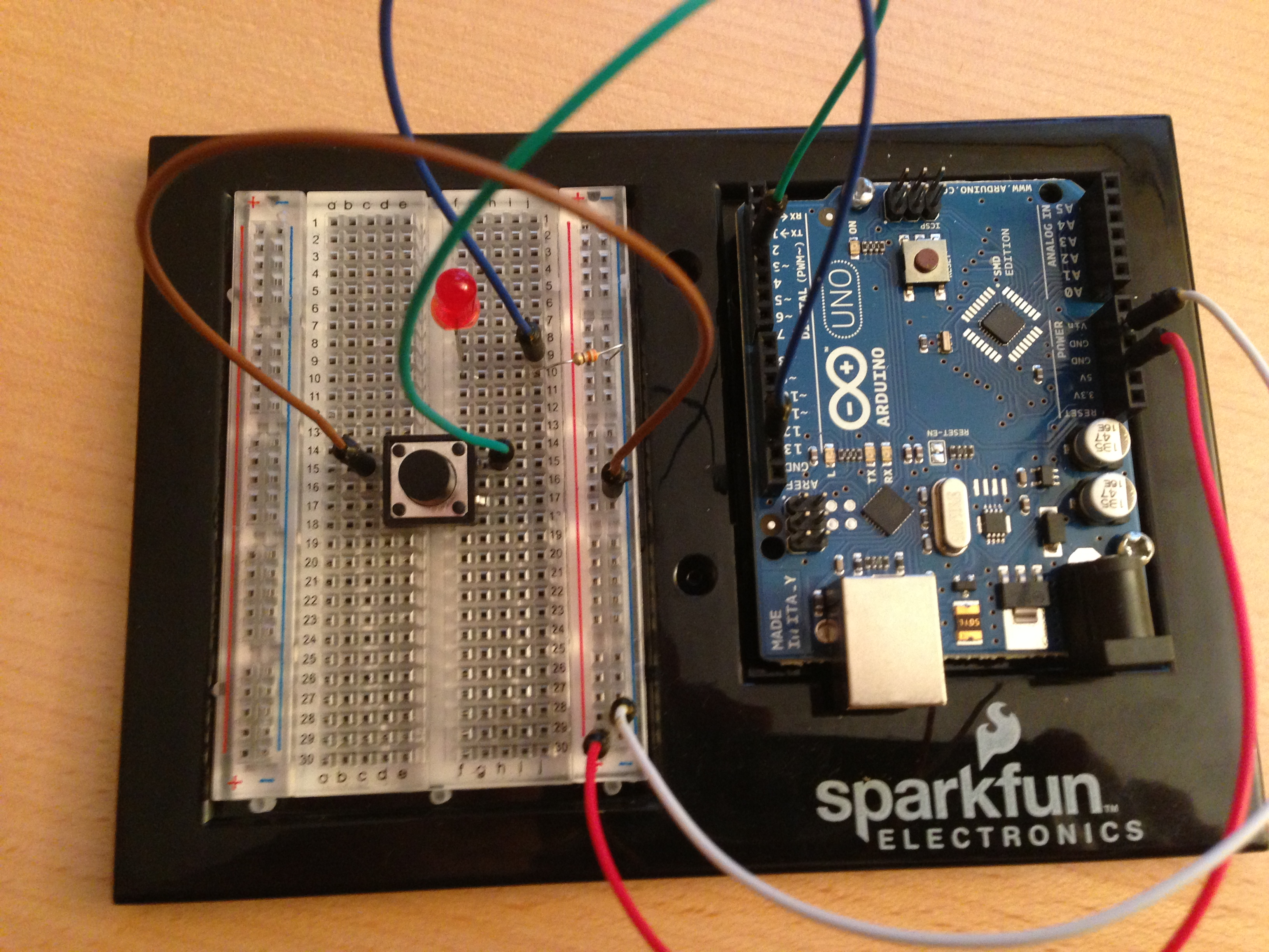 Arduino Tutorial For Complete Beginners Using A Button Led Circuits And Resistors Breadboard Setup