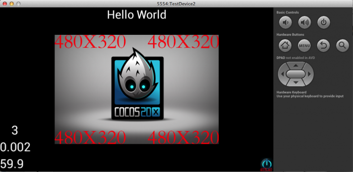 Cocos2D-X project running in Android simulator.