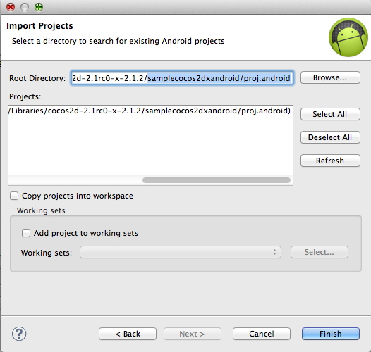 Importing the Android project