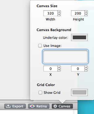 Edit canvas size in PaintCode