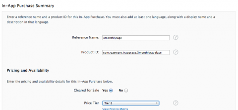 Setting up an In-App Purchase