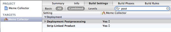 Xcode Build Settings Strip