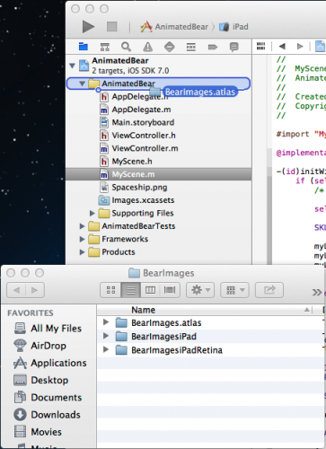 Drag BearImages Atlas Folder into Xcode