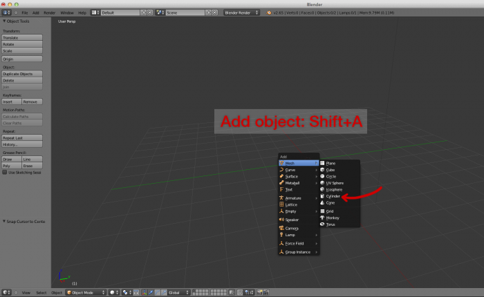 Blender add object cylinder