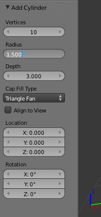 Blender cylinder options