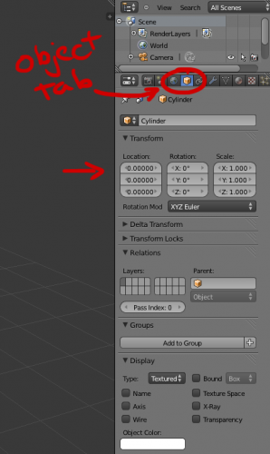 Blender object tab