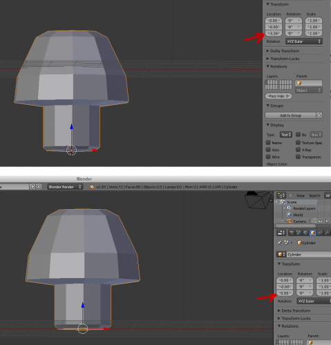 Blender move object origin