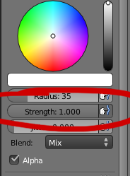 Blender brush options
