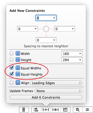Add equal widths and heights constraints