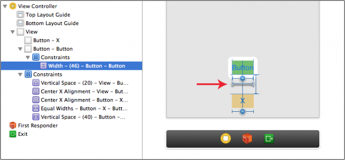 Button with Fixed Width constraint