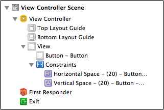 Button constraints in document outline