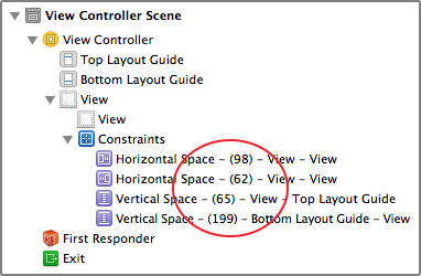 Constraints for green view in document outline
