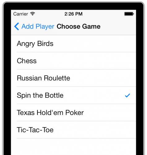 Game picker with checkmark