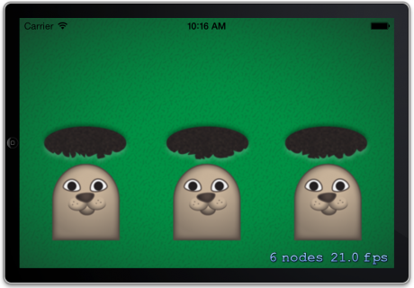Moles placed in correct positions