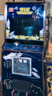 An original Space Invaders arcade cabinet