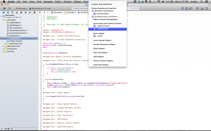 The Xcode pragma menu